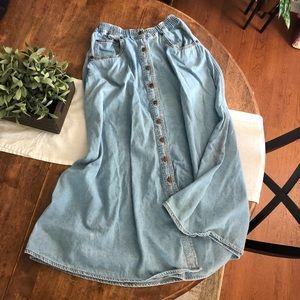 90s Vintage Jordache Denim Maxi Skirt Size 10